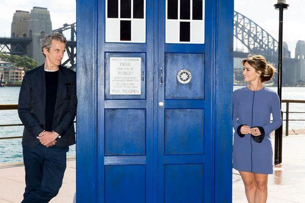 Peter Capaldi and Jenna Coleman in Sydney Doctor Who world tour.  sc 1 st  Pinterest & 15 best Mancave Tardis Door images on Pinterest   Tardis door ...