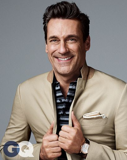 Jon Hamm. Polo shirt by Burberry London. Suit by J.Crew Ludlow. Watch by Hamilton.