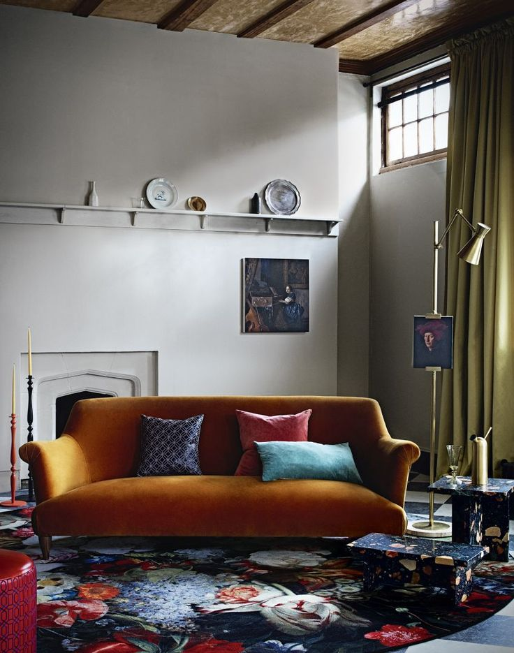 Living Room with Orange Sofa and Chequered Flooring