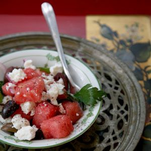 Watermelon, Feta, and Olive Salad by Saveur. In this summer salad, watermelon is a sweet counterpoint to the briny pungency of feta and olives.