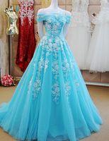 Dressv glace bleu A-ligne off the épaule perles longue soirée robe appliques lacent robe de bal sexy formelle parti soirée robe