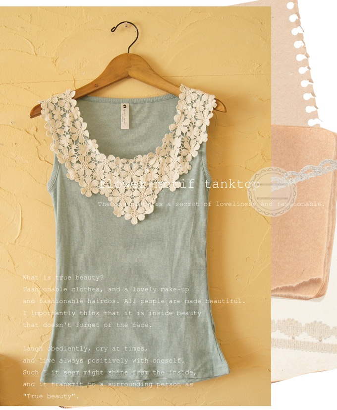 lovely blue tank with lace collar. This will be part of my summer wardrobe. It will be easy to make or refashion.