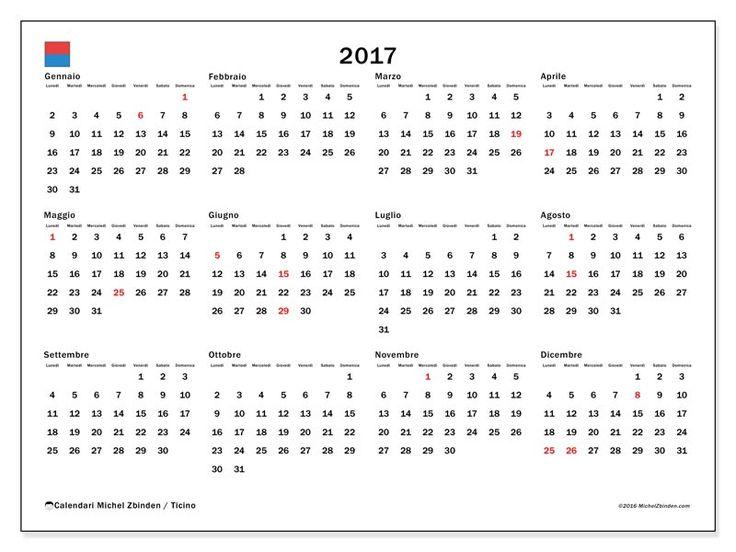 Gratis! Calendari per  2017 da stampare - Svizzera