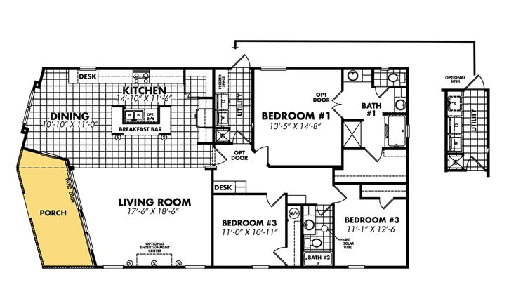 Mobile Home Blueprints 3 Bedrooms Single Wide 71 Bedroom