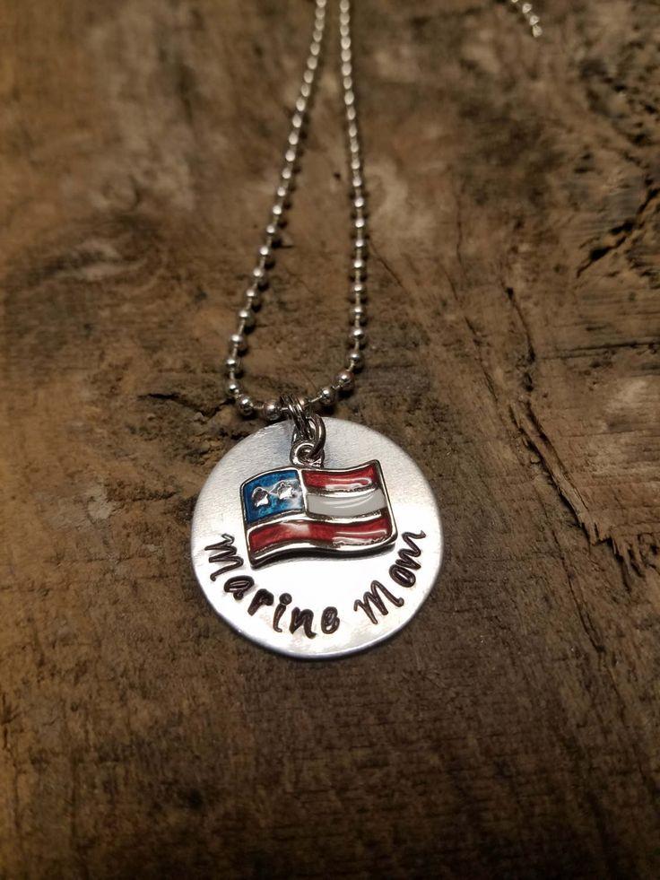 Marine necklace, marine mom, proud marine, marine jewelry,  us marine, American flag, marines, marine gift by Boymomof2Crafts on Etsy