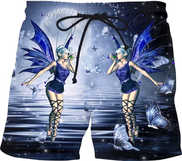 Blue Fairy and Butterflies Swim ShortsShorts#erikakaisersot #RageOn #swimshorts #fairytale