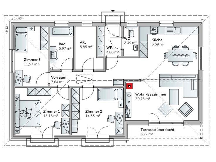 Bungalow Grundriss Familie :  Bungalow auf Pinterest  Winkelbungalow, Grundrisse und Fertighäuser
