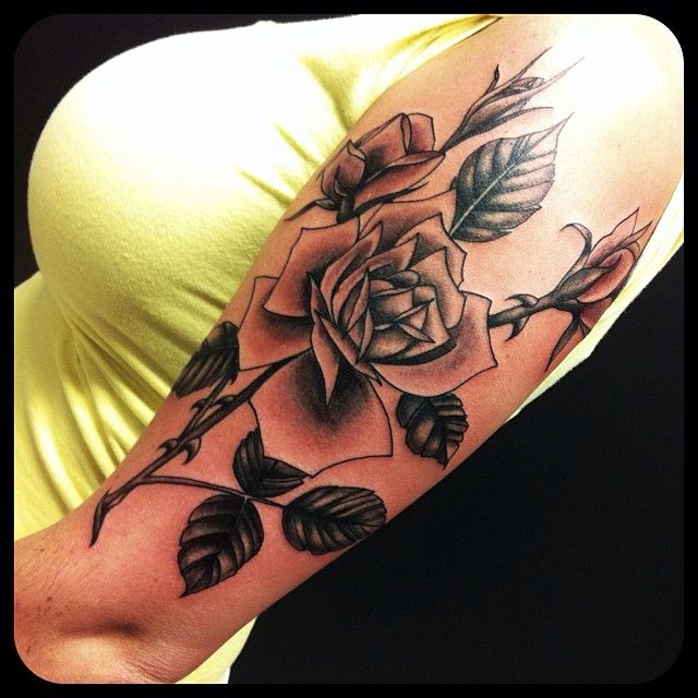 rose tattoo blackandgray tattoo rose flowers leaves
