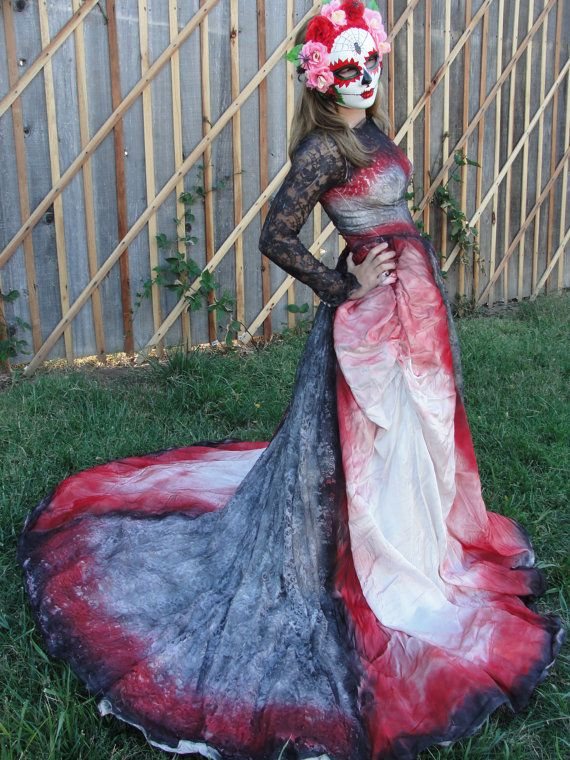 Red And Black Day Of The Dead Halloween Costume Undead Bride Size Small XS Wedding Gown Gothic Mask Not Included