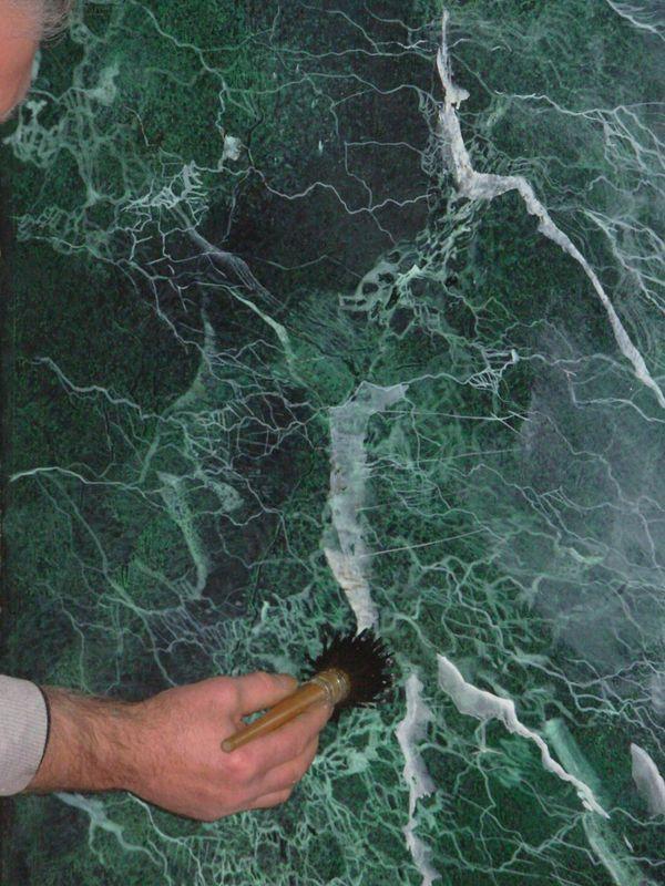 R alisation vert de mer faux pinterest marbles for Faux bois painting technique