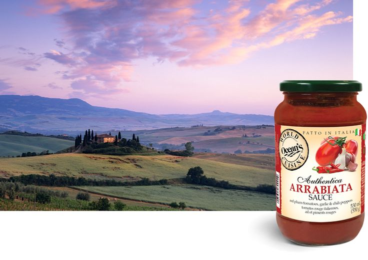 "Arrabiata is a mouth-watering Italian pasta sauce originally sourced from Rome. The sauce has a strong, spicy flavour profile created by the presence of garlic, herbs, black pepper and spices. Arrabiata is commonly referred to as the ""Angry Sauce"". #fromtheheartofitaly #oceansworldcuisine #allnatural #glutenfree #vegetarianpastasauce #veganpastasauce"