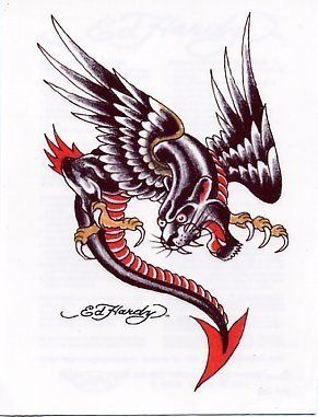 """Ed Hardy- Panther Dragon Temporaray Tattoo by Tattoo Fun. $4.95. This Ed Hardy temporary tattoo is a black and red panther combined with a dragon body with wings growling. This is a pretty strange and mean looking creature I would not want to see fly past me! 2 1/2"""" long 2"""" wide."""