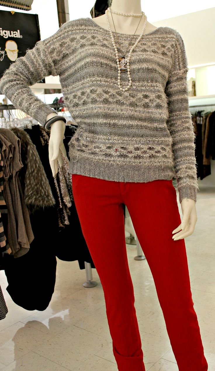 Cute sparkly Press sweater paired with Micheal Kors red denim ..xoxo