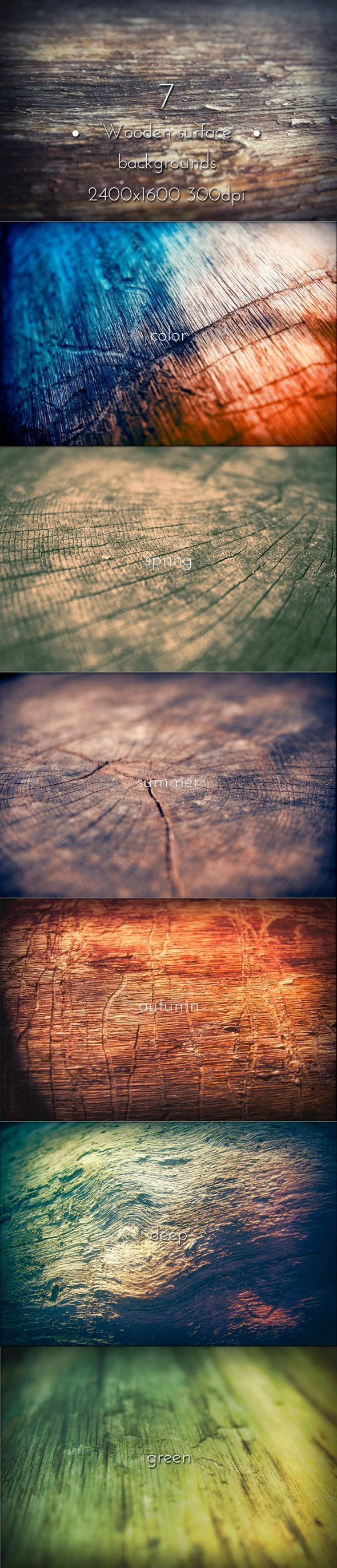 Wooden surface collection backgrounds. 7 hi-res JPG images. 2400×1600, 300 DPI. #graphicriver #wood