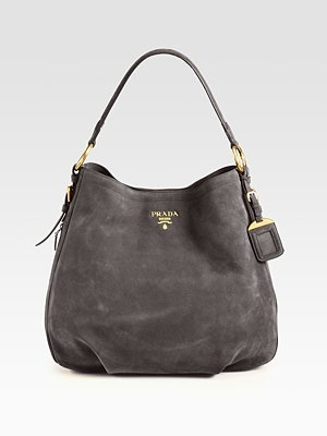Prada - Scamosciato Hobo, grey is a great alternative to the classic black, will go with everything! Especially pink.