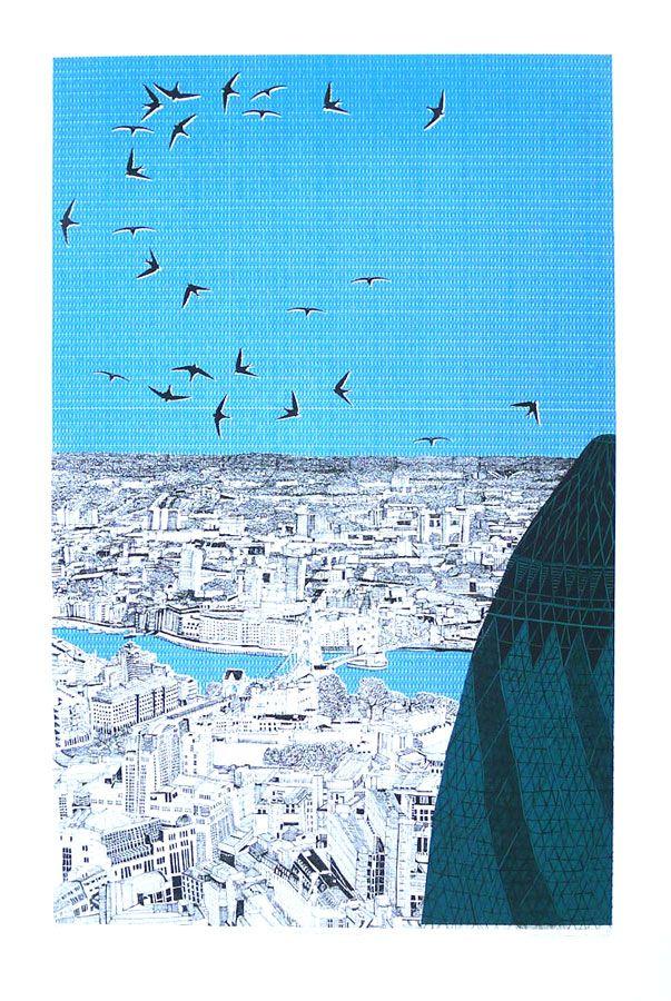'London Lurking Behind The Gherkin' - Clare Halifax