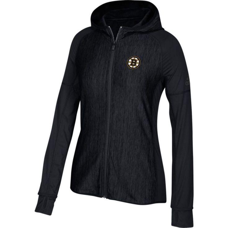 adidas Women's Boston Bruins Logo Black Full-Zip Hoodie, Size: XXL, Team