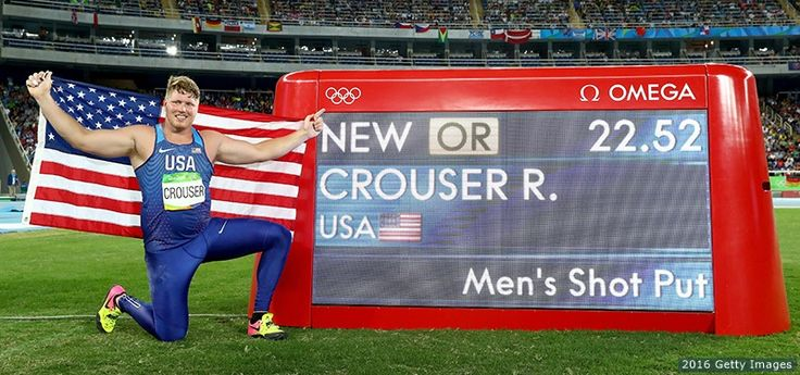 Ryan Crouser celebrates setting a new Olympic record of 22.52 in the men's shot put final at the Rio 2016 Olympic Games at the Olympic Stadium on Aug. 18, 2016 in Rio de Janeiro.