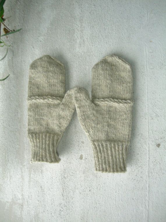 Mens boys basic rustic wool mittens natural by Helidonstitch