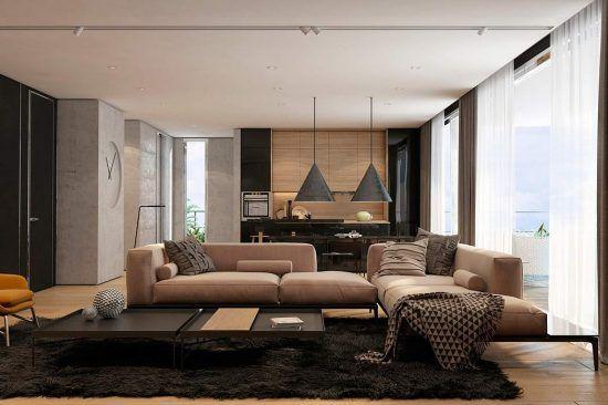 Interior design in brown & black. Diseño salón acogedor y minimal. Decoración en negro y marrón.