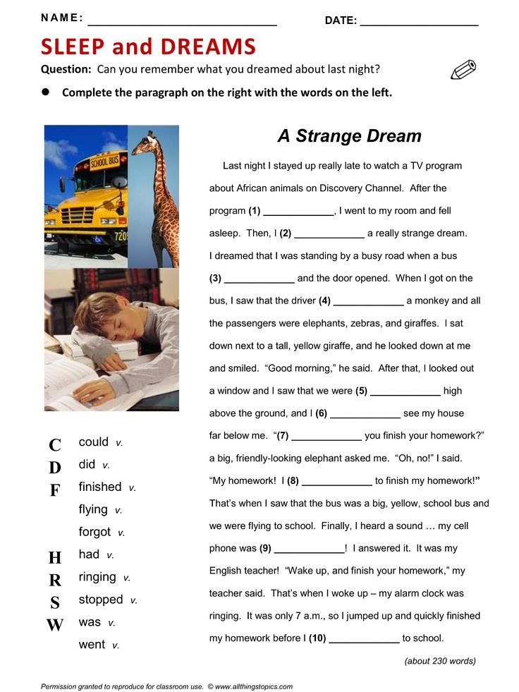 SLEEP and DREAMS, Mixed (includes past simple and past continuous), Reading, Vocabulary. http://www.allthingstopics.com/sleep-and-dreams.html