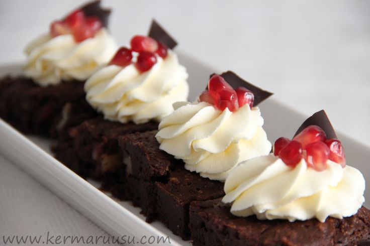 brownies, pomegranate