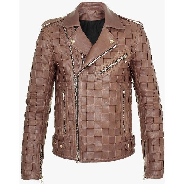 Balmain Braided leather jacket ($6,325) ❤ liked on Polyvore featuring men's fashion, men's clothing, men's outerwear, men's jackets, mens brown leather jacket, balmain mens jacket, mens brown jacket and mens leather jackets