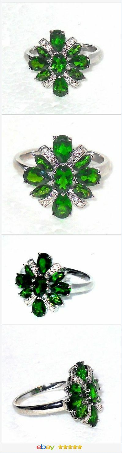 Russian Chrome Diopside white topaz ring 3.00 ctw size 8 Sterling USA Seller http://stores.ebay.com/JEWELRY-AND-GIFTS-BY-ALICE-AND-ANN