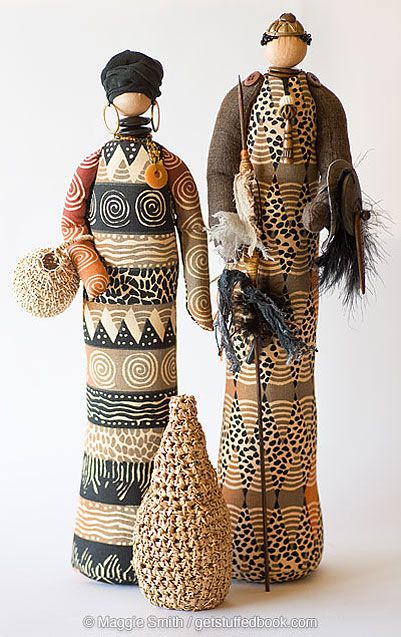 African-inspired stump dolls from page 12 of Get Stuffed: shape, stuff and stitch, by Maggie Smith