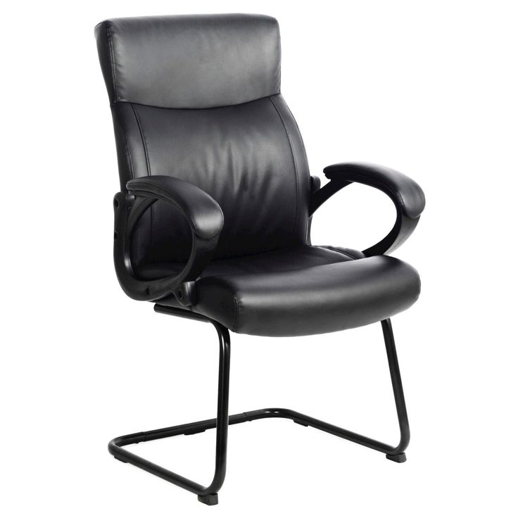 Workspace Leatherette Office Guest Chair Black - CorLiving