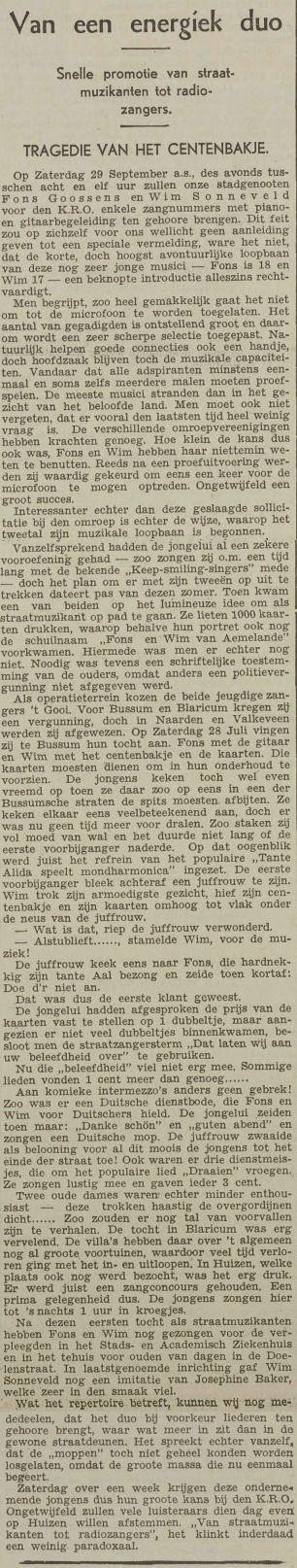 Het UN schrijft over de jonge Utrechtse artiesten Wim Sonneveld en Fons Goossens die een paar dagen later zouden debuteren bij de KRO Radio - 20 september 1934, pagina 10