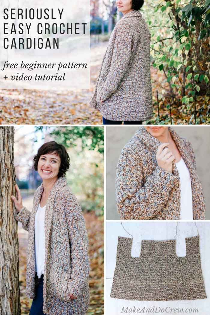 7b312ac25 Crochet Cardigan Pattern for Beginners - Free Pattern + Video ...