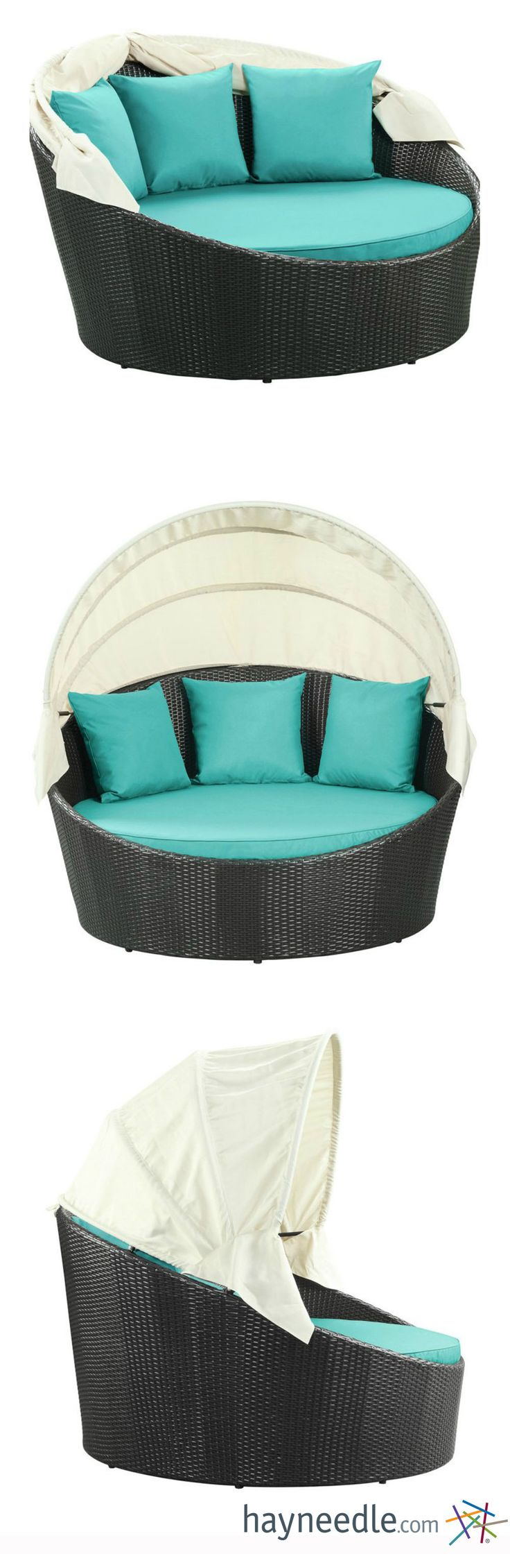 Forget those old rickety lounge chairs that weren't that comfy anyway - the Siesta Wicker Canopy Daybed takes your outdoor siestas to a whole new level of snooze. Cozy up with the included three pillows and cushion - and don't forget to pull up the retractable canopy if you need a little shade.