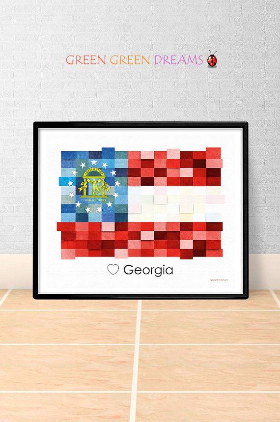 Georgia Flag Print Poster Wall art Georgia US State flags Georgia GA printable download Home Decor Digital Print gift GreenGreenDreams