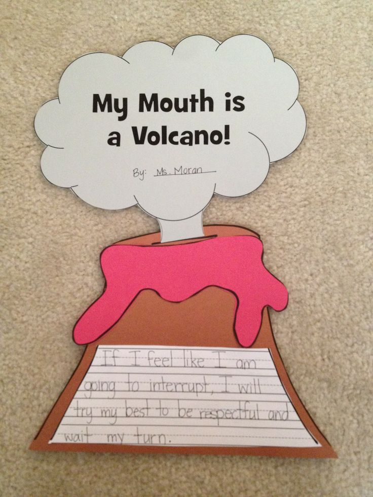 My mouth is a volcano writing activity for preschool