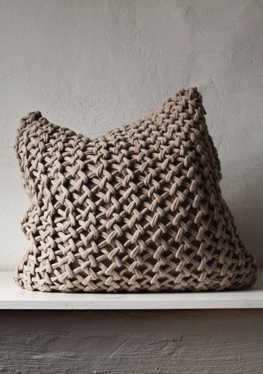 Coussin+Grosse laine+grosses mailles