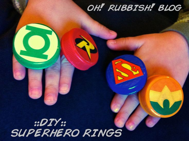 DIY:: Super Hero Rings:: from upcycled milk caps & ring pops:: birthday party favor ideas::oh! rubbish! blog::