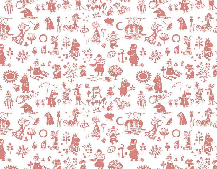 moomin, pattern, art, red,