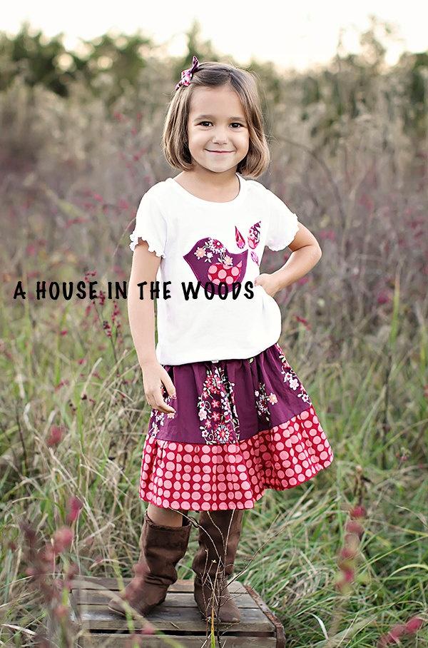 Girls outfit - Toddler Clothes - Ruffle Skirt - Bird Shirt - Amy Buttler - Twirl Skirt - Baby Clothes. $28.00, via Etsy.