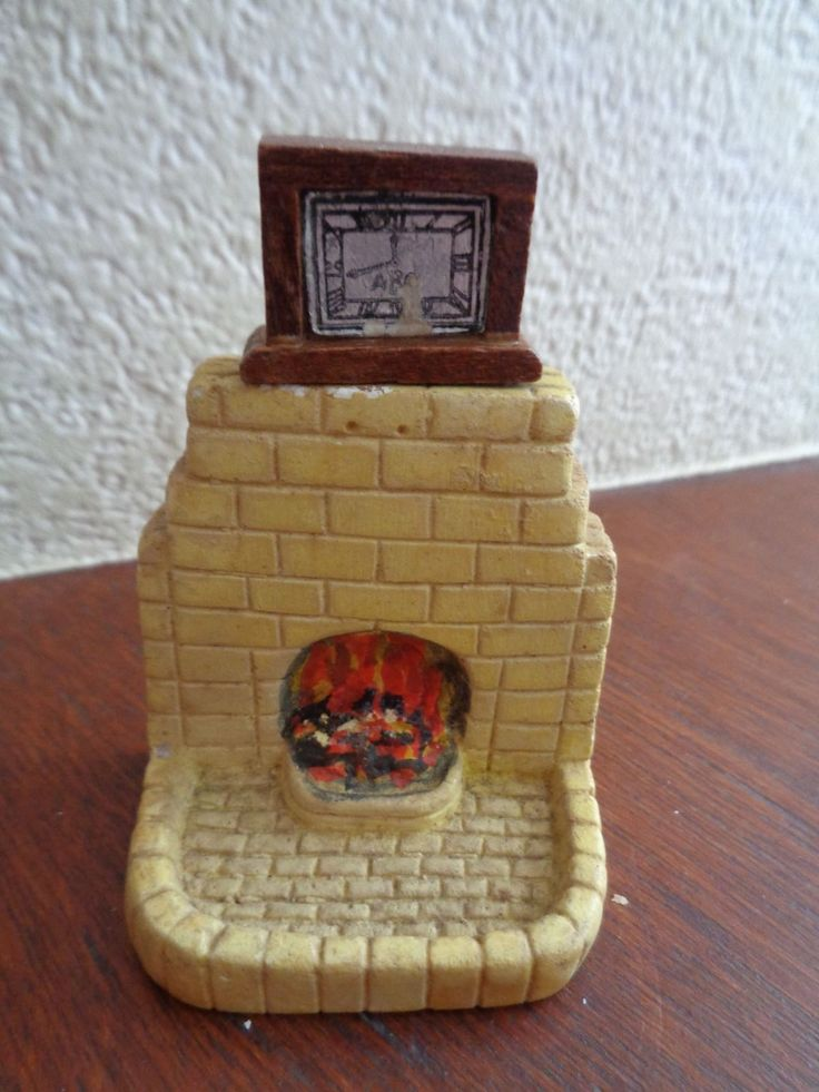 Vintage dolls house Kaybot little plaster fireplace and Barton clock | eBay