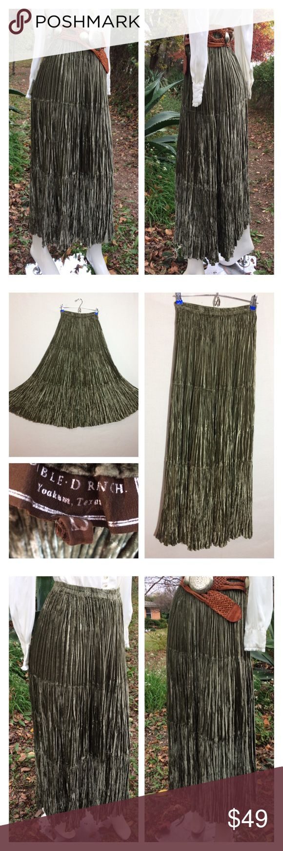 Tiered Green Velvet Western Skirt Double D Ranch S Olive green velvet tiered skirt by Double D Ranch- elastic waistband- not lined~ A great skirt to dress up or down~with a tee or a blouse~cowgirl boots or heels.  Excellent condition~Please double click all photos for better viewing and condition. Size label is a X-Small ~PLEASE see measurements~mannequin is a small for sizing reference~will fit other sizes with elastic waistband Please go off measurements laying flat and double them…