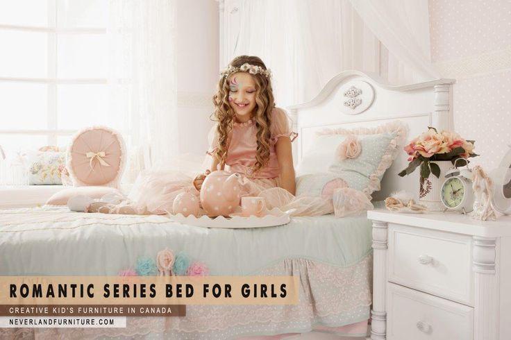 Elegant Girls Bed  Neverland Furniture ph: 1 877 857 9609 http://neverlandfurniture.com Creative kid's furniture in Canada  #bedroomfurniture #kidsfurniture #youthfurniture #childrensfurniture #highquality #furniture #luxury #canada #BC #AB #SK #MB #ON #NB #NS #NF #PEI #romantic #bed #girls #bedroom #elegant #comfort #style