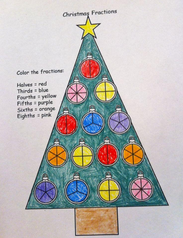 FREE Christmas fraction worksheet!