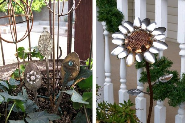 Garden Decorations Made From Junk Diy Recycled Outdoor Decor Spoons Pinterest Gardens