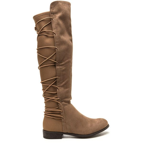 Style Revival Lace-Up Back Boots ($29) ❤ liked on Polyvore featuring shoes, boots, knee-high boots, tan, round toe boots, tan boots, knee length boots, stretchy knee high boots and faux-fur boots