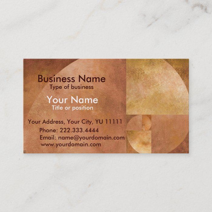 Golden Mean Business Card Zazzle Com In 2020 Art Business Cards Fibonacci Spiral Fibonacci Spiral Art