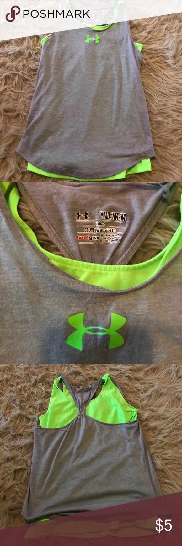 Girls Size Medium Under Armour Double Tank Super Cute Grey and Bright Green! Exceptional Condition Except Seem at Neck Coming Undone as Shown in Pic! Wear for Play or Take a Minute to Sew or Tack it! Very Nice and Really Cannot Tell When it is On! Super Cute! Size Medium or 10/12 Girls or XS in Juniors. All of My Clothes Come from a Smoke Free Home but We are Pet Friendly. They May have Some Fuzz on Them from Taking Picks on Sheep Rug but Will NOT Affect the Quality of the Item! Bundle and…