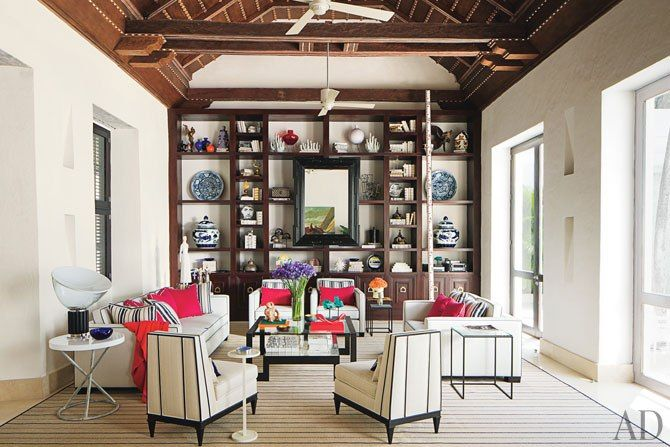 Richard Mishaan's Colombian Retreat : Interiors + Inspiration : Architectural Digest: Living Rooms, Accent Pillows, Interiors Design, High Ceilings, Design File, Architecture Digest, Richard Mishaan, Side Chairs, Ceilings Fans