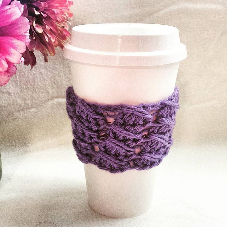 Purple Coffee Cup Sleeve - Reusable Cotton Coffee Cup Cozy - READY TO SHIP - Ships Same Day As Ordered - Great Gift - Coffee Lover Gift (5.00 USD) by CecesCorner