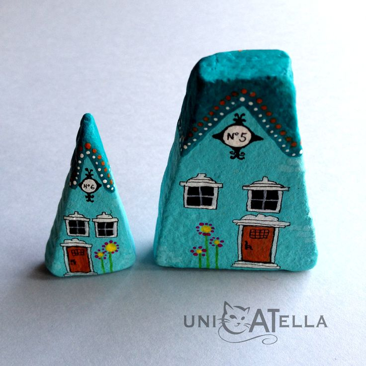 Little Houses by Unicatella Painted stones